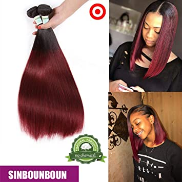 3 pcs Shor Bob One Donator Red Bundles with Lace Closure Straight Brazilian  Remy Hair Extensions