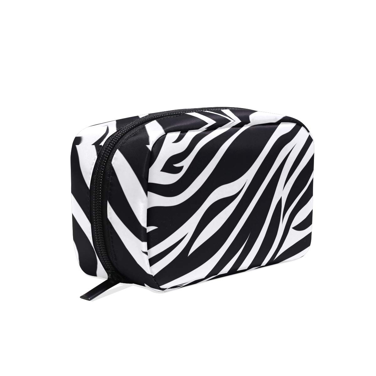 Zebra Animal Print Cosmetic Bags Organizer- Travel Makeup Pouch Ladies Toiletry Case for Women Girls, CoTime Black Zipper