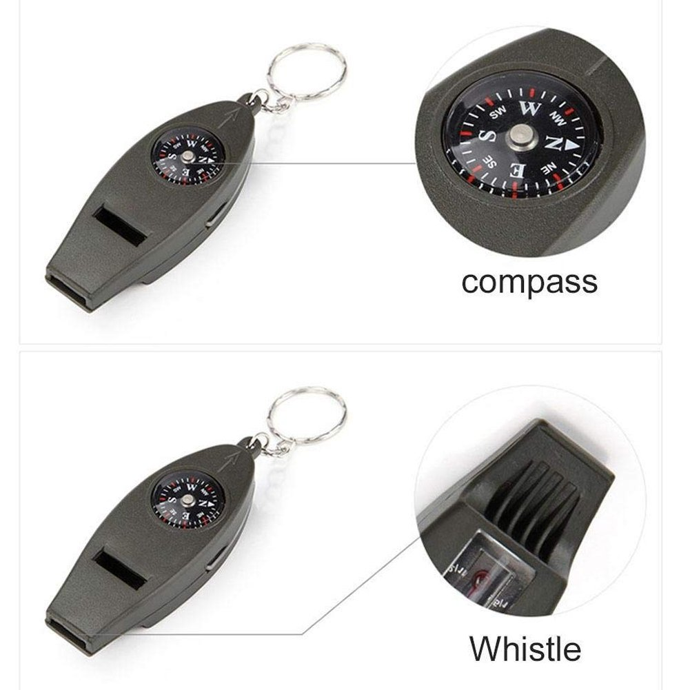 Whistle Multi-Function 4 in 1 Whistle Compass Thermometer Magnifier with Keyring Deanyi Survival Whistle