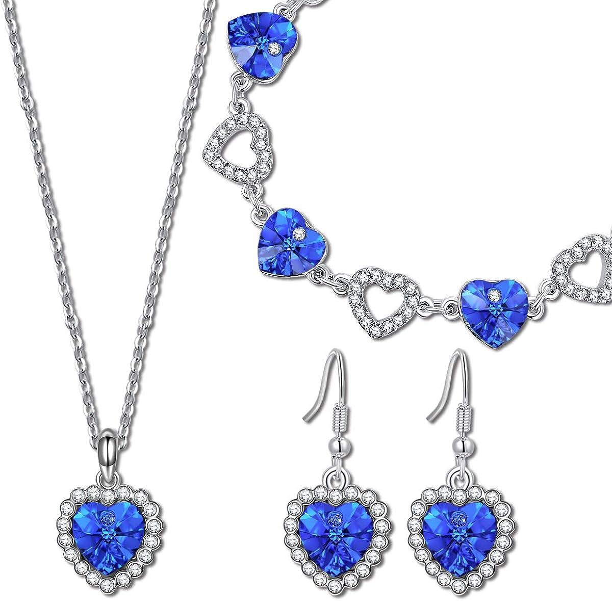 Kami Idea Conjunto de Joyería, Collar y Pulsera y Aretes, Amor Azul, Cristal Azul de Swarovski, Embalaje de Regalo, Regalos para Mamá