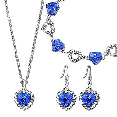 Kami Idea Conjunto de Joyería, Collar y Pulsera y Aretes, Amor Azul, Cristal Azul de Swarovski, Embalaje de Regalo, Regalo de San Valentín