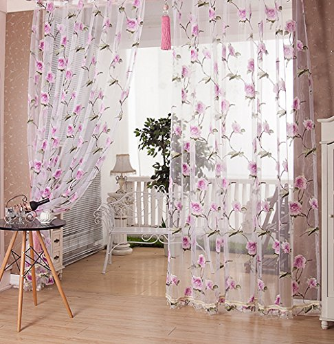 Sheer Curtains Countryside Flower Burnt-Out Design Rod Pocket Voile Transparent Treatments Bead Decoration for Living Room & Bedroom(1 Panel, W 50 x L 90 inch, Pink)