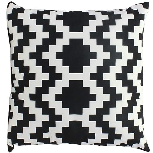 Cojín de Exterior Negro y Blanco Estampado 70 cm decoración ...