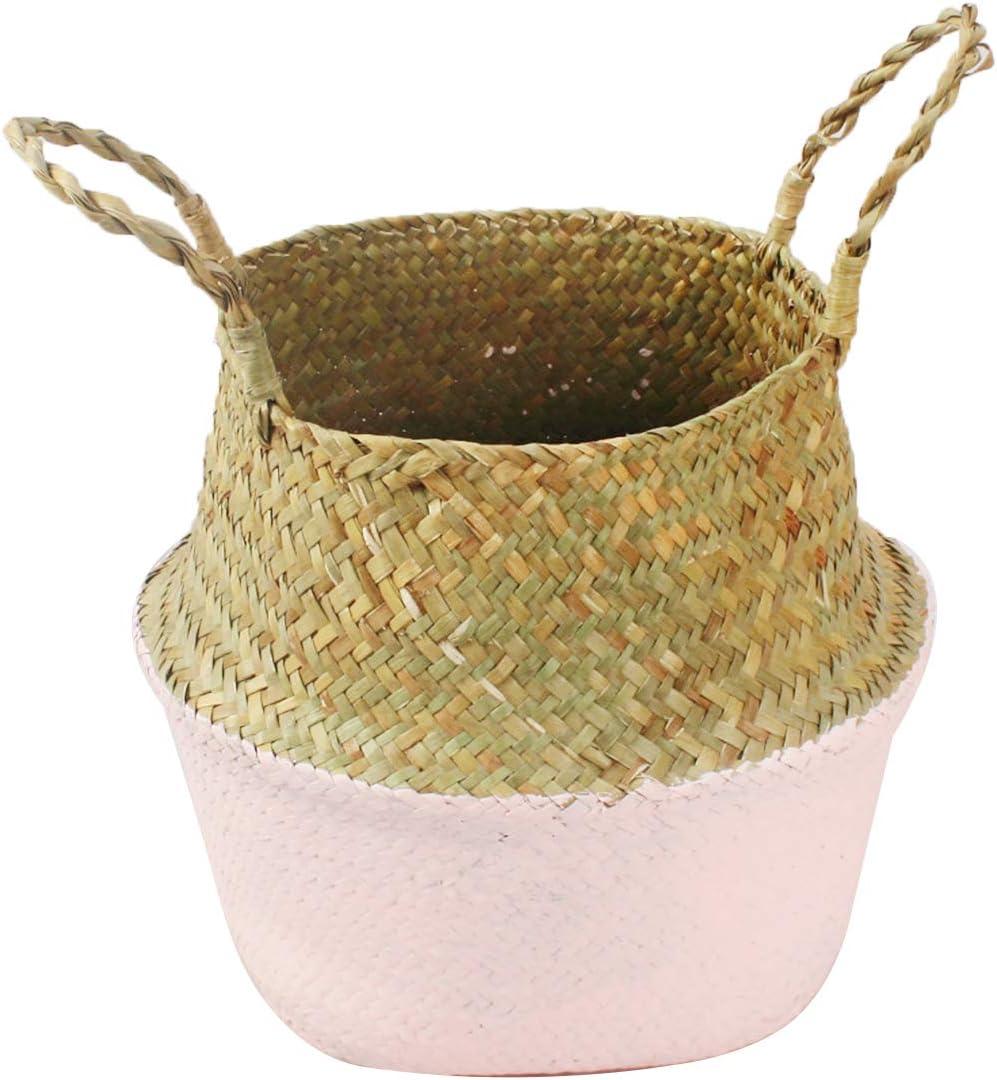 Paja para Colgar jard/ín hogar Patchwork A Cesta de Flores para Almacenamiento de Flores para el hogar Small Cesta de Junco Marinero cestas de Almacenamiento Plegables para Colada Maceta