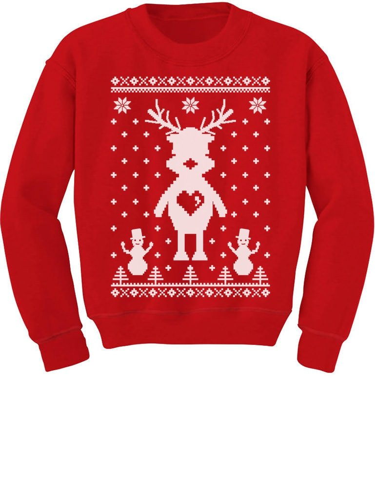 Tstars Reindeer Love Ugly Christmas Sweater - Perfect For Xmas Kids Sweatshirt Medium Red
