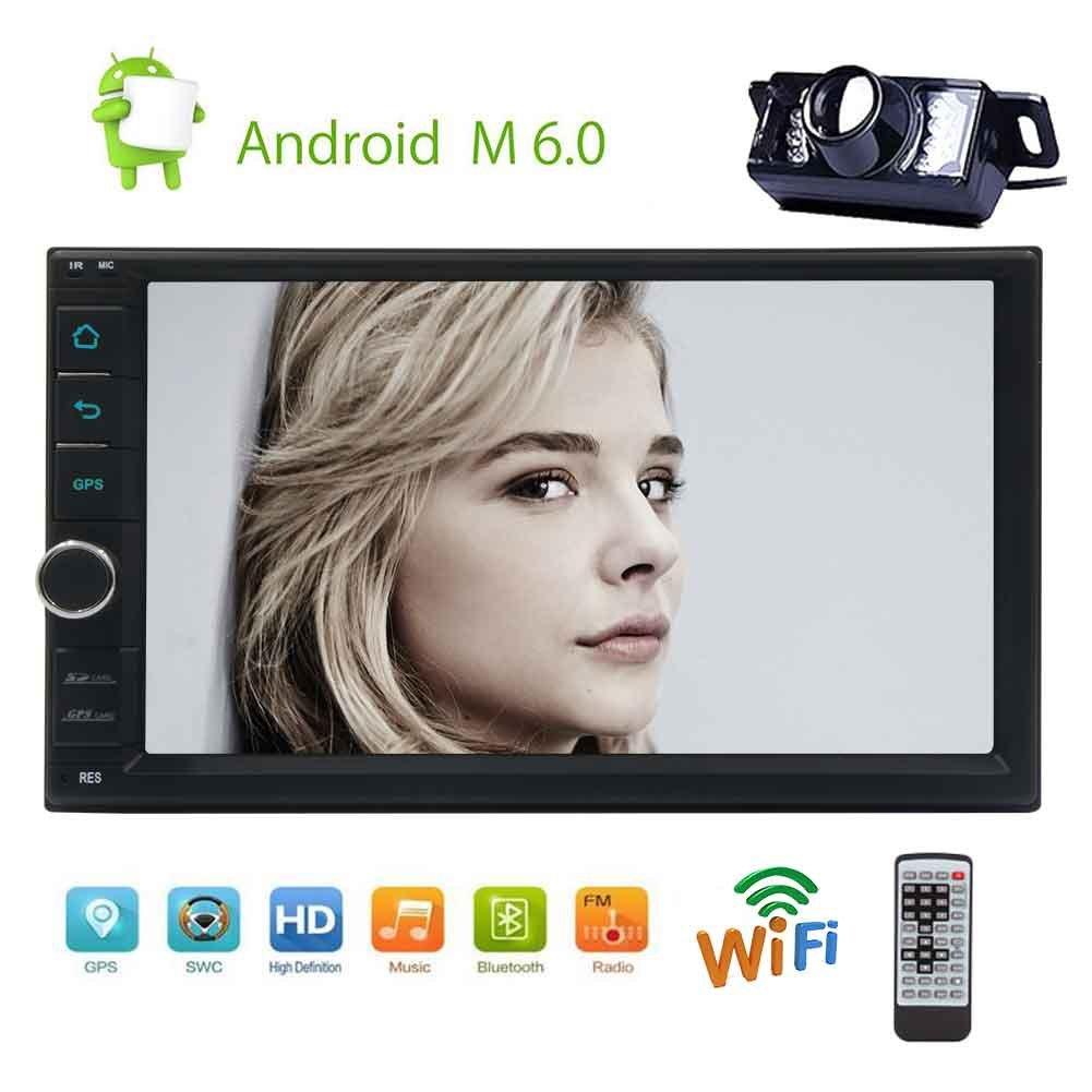 付属ダッシュナビオートラジオカーエンターテイメントのサポートのWiFi / 1080Pビデオ/ Mirrorlink / OBD2 / SWCバックアップカメラでアンドロイド6.0システム1ギガバイト16ギガバイトダブルディンGPSと7「」HDタッチスクリーンカーステレオ B07CPZ3XX3