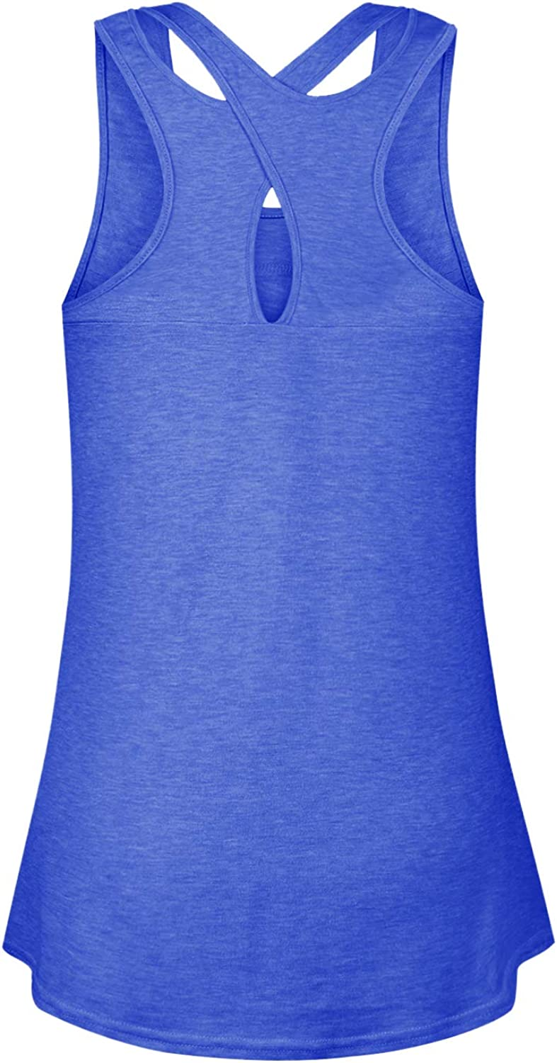 Cyanstyle Womens Sleeveless Scoop Neck Loose Fit Cross Back Yoga Tank Tops