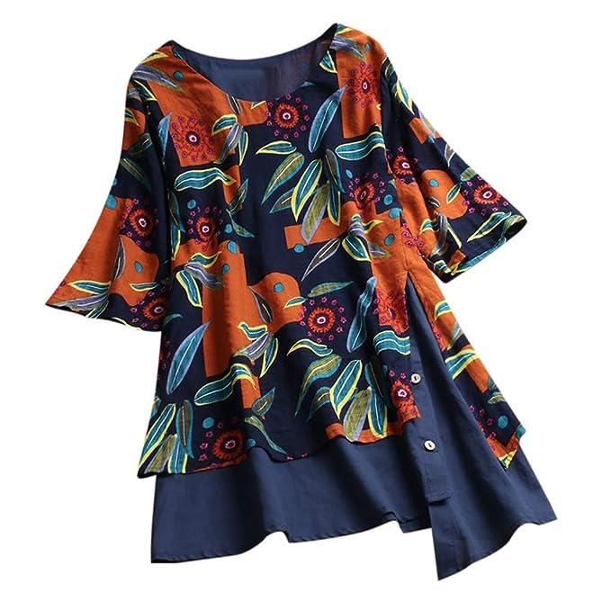 Amazon.com: Blusa para mujer, de lino vintage, con estampado ...