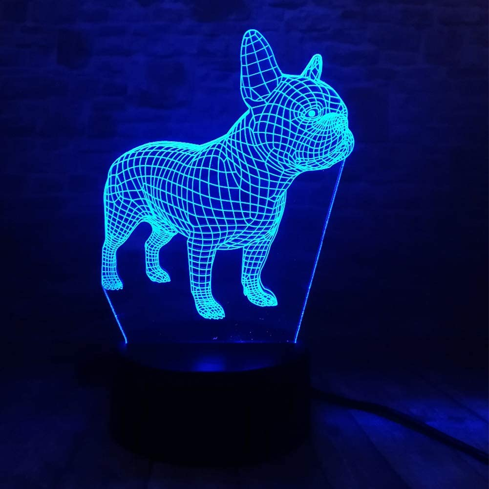 French Bulldog Night Light 3D Illusion Table Lamp YKLWORLD Puppy Dog 7 Changing Color Toys Birthday Christmas Gifts for Kids Boys Girls Home Bed Room Decor