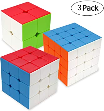Maomaoyu Cubo Magico Pack, Speed Cube 3x3+2x2+4x4, Cubo de la Velocidad Sin Pegatinas Caja de Regalo de 3 Piezas Set (Stickerless): Amazon.es: Juguetes y juegos