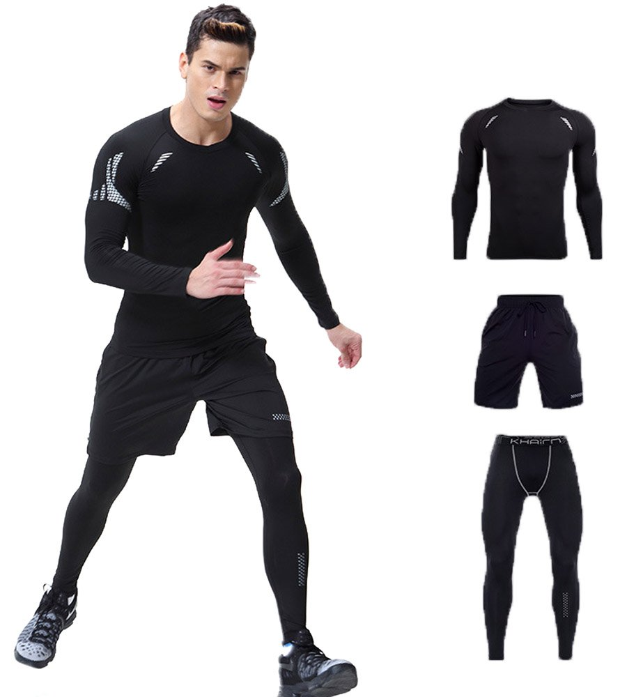 Mens Breathable Activewear Set Long Sleeve Moisture Wicking Running T-Shirts 3PC