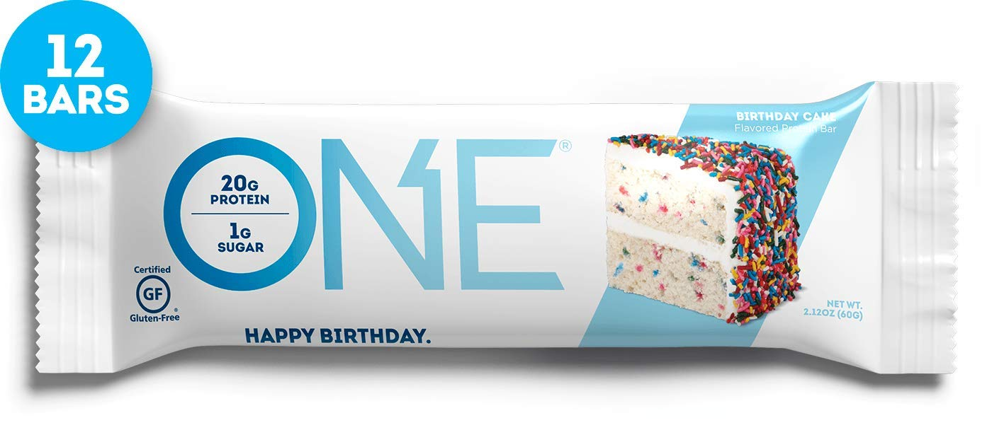 ONE Protein Bars, Birthday Cake, Gluten Free Protein Bars with 20g Protein and only 1g Sugar, Guilt-Free Snacking for High Protein Diets, 2.12 oz (12 Pack) by ONE