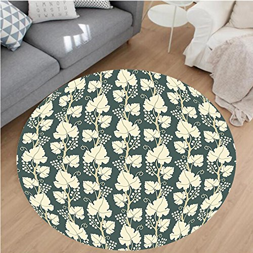 Nalahome Modern Flannel Microfiber Non-Slip Machine Washable Round Area Rug-Grapes OrnateLattice Pattern Floral Style Ornate Agriculture Vineyard Branch Green Beige area rugs Home Decor-Round (Vineyard Brown Area Rug)