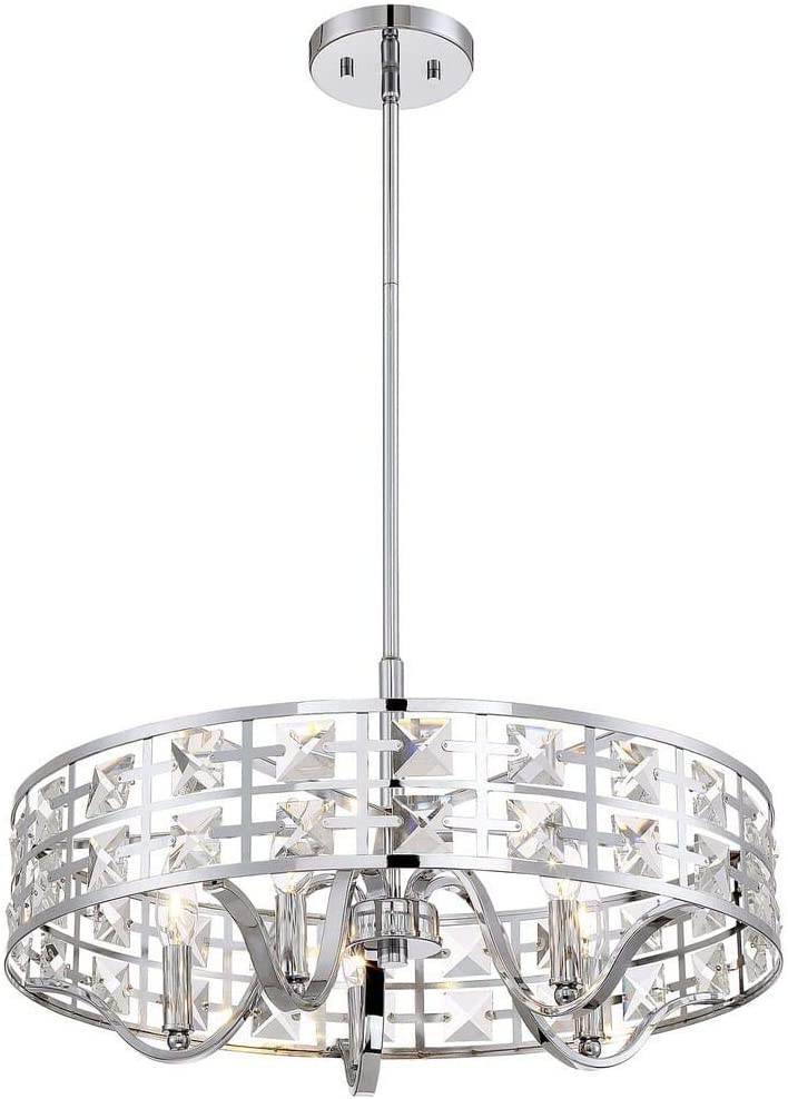 Trade Winds Lighting TW021306CH Adjustable Height Modern Hanging Drum Pendant with Brilliant Crystals in Chrome