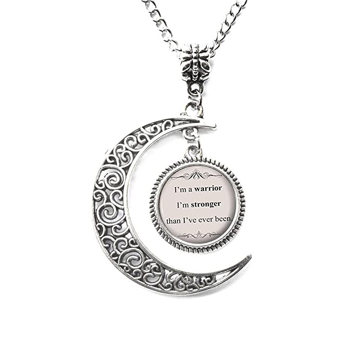 Charm Crescent Moon Song Lyric Jewelry - Demi Lovato Song Lyrics Quote Necklace - Inspirational Music Pendant - Silver Motivational Jewelry Gift for Her - <strong>Demi Lovato</strong>