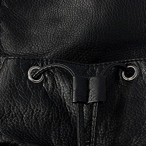 Zaino elegante e morbido Fletion, in pelle sintetica, adatto per il tempo libero, per la scuola e per viaggiare, di colore nero