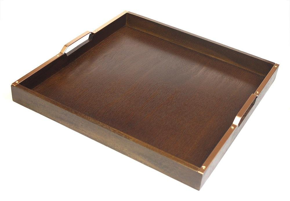 Mountain Woods ASTL Wooden Serving Tray with Copper Finish Handles, 20