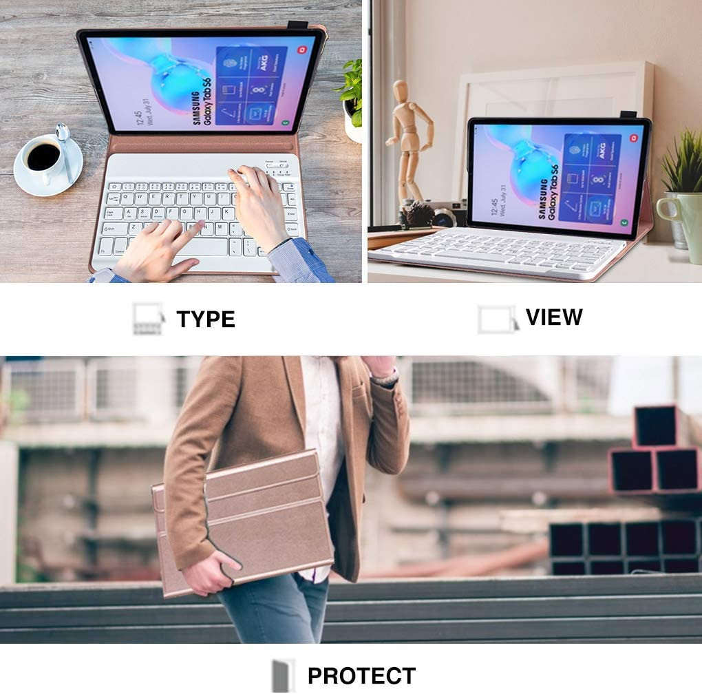 Upworld Bluetooth Keyboard Case for Samsung Galaxy Tab S6 10.5 inch Model : T860//T865, 2019 Rose Gold Removable Wireless Keyboard with Leather Cover Support S Pen Wireless Charging