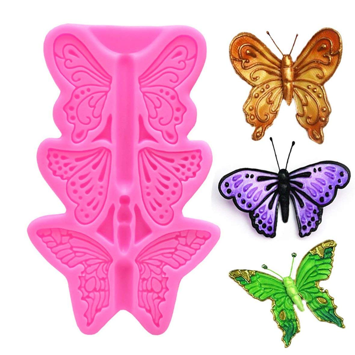 Tivolii Food Grade 3D Fondant Cake Silicone Mold Butterfly for Reverse Forming Polymer Clay Chocolate DIY Decoration Tools