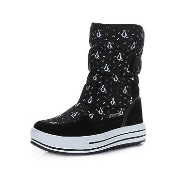 PAMRAY Botines Mujer Zapatos Invierno Botas Nieve Calentado Forro Polar Plataforma 4cm Velcro Calzado Felpa Boots Negro Azul Blanco 34-41: Amazon.es: ...