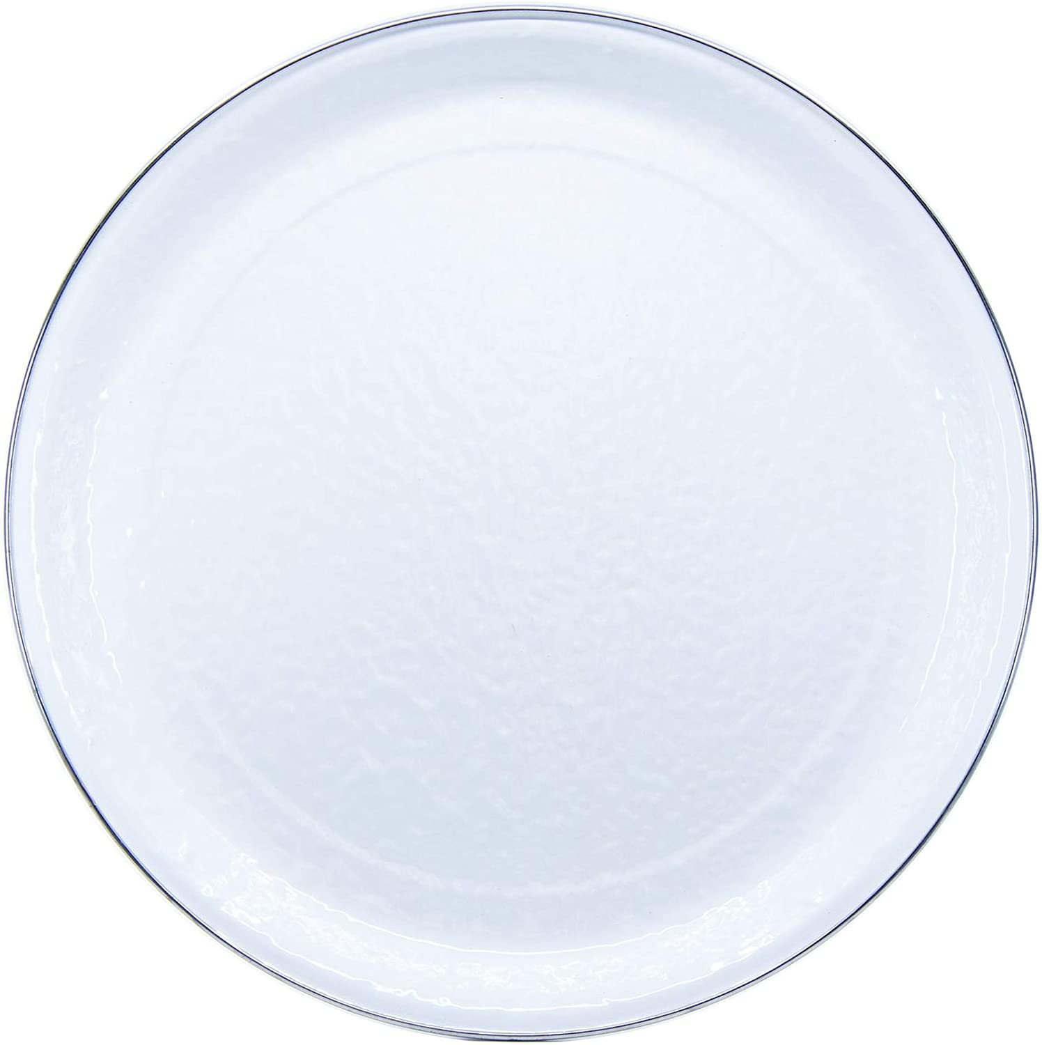 Golden Rabbit Enamelware - White on White Texture Pattern - 15.5 Inch Round Serving Tray