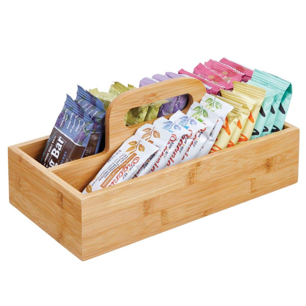 Pr/áctica Caja de almacenaje para Cocina Cesta con asa de Madera de bamb/ú Natural MetroDecor mDesign Organizador de Cocina Muebles y despensa