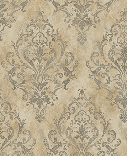 Victorian Damask Vintage Wallpaper Cream Bronze Sand Distressed Diamond Pattern ()