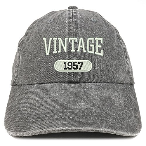 Trendy Apparel Shop Vintage 1957 Embroidered 62nd Birthday Soft Crown Washed Cotton Cap - Black