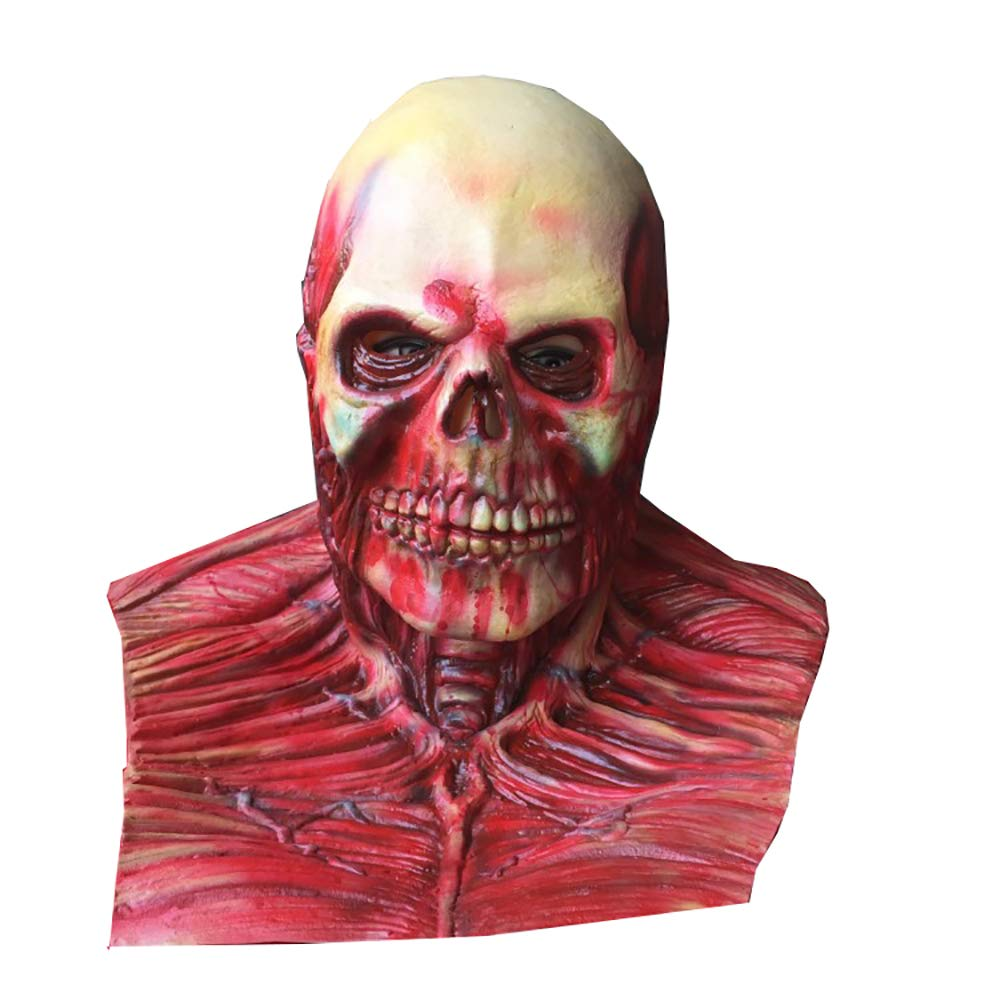 JIEPAI Capucha Fantasma De LáTex MáScara De Terror De Halloween Accesorios para Videojuegos Peluca Traviesa