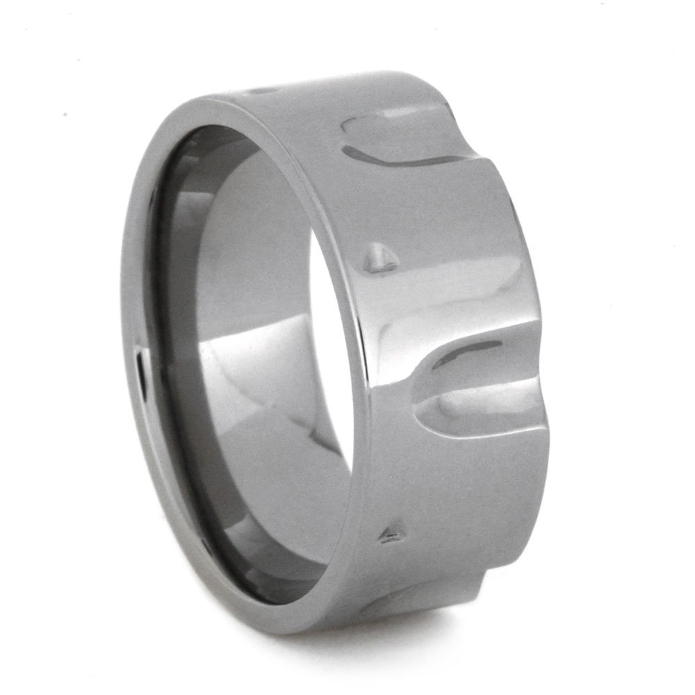 Titanium Revolver Gun Ring 9mm Comfort-Fit Band and Sizing Ring, Size 10