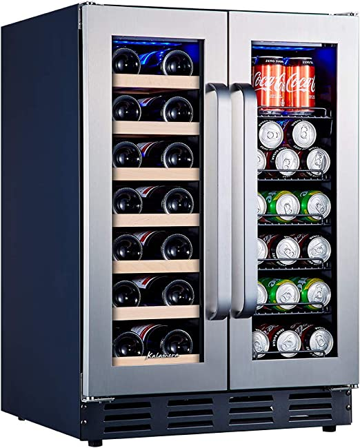 Kalamera Beverage And Wine Cooler 24 Inch With Seamless Steel Door Dual Zone For Built In And Freestanding Beer Wine Soda And Drink Mini Fridge Drinks Fridge At