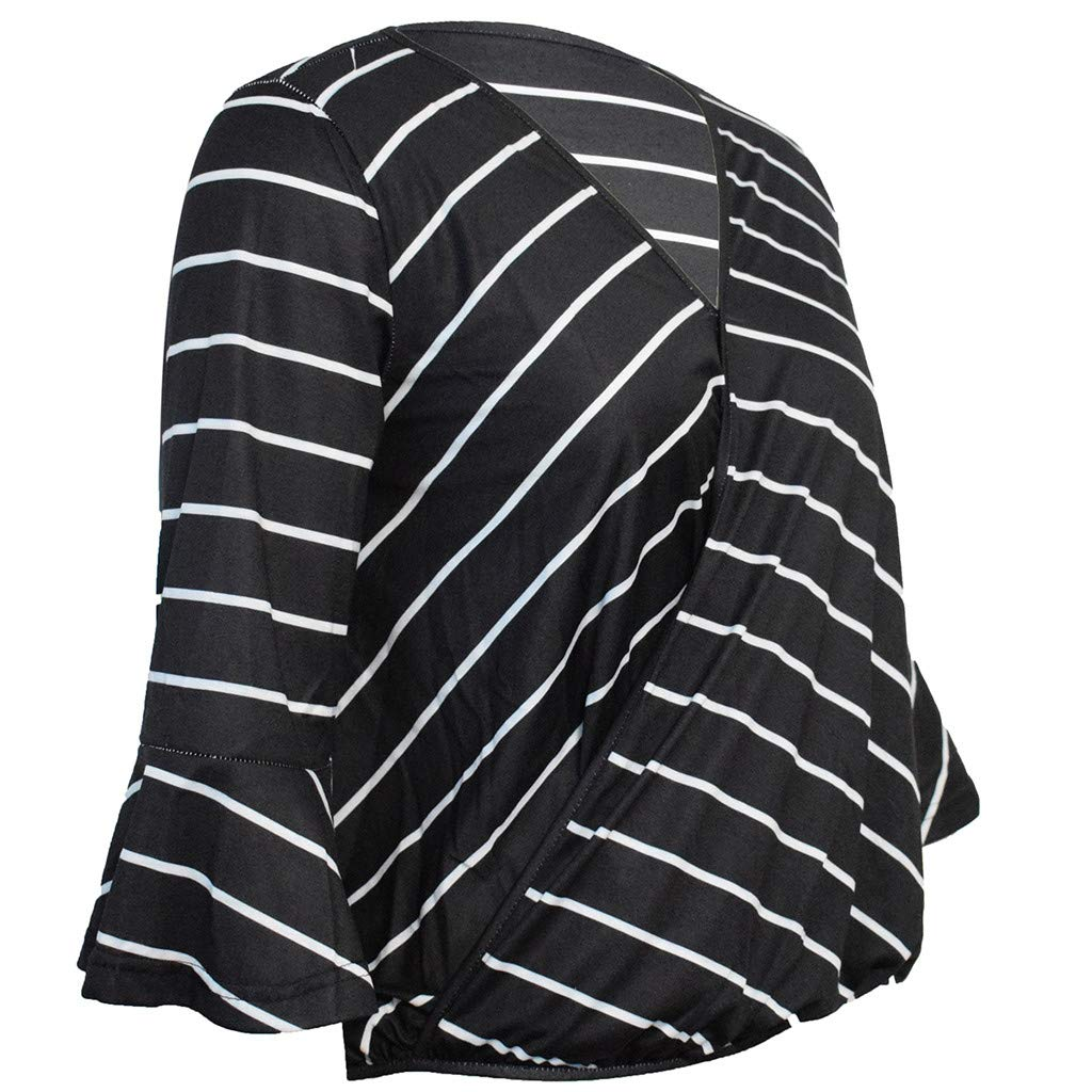 LONGDAY Women Casual T-Shirt Wrap V-Neck Flare Sleeve Shirt Summer Loose Blouse Striped Top Tunic Ladies Pullover Basic Black by LONGDAY-Women Tops (Image #6)