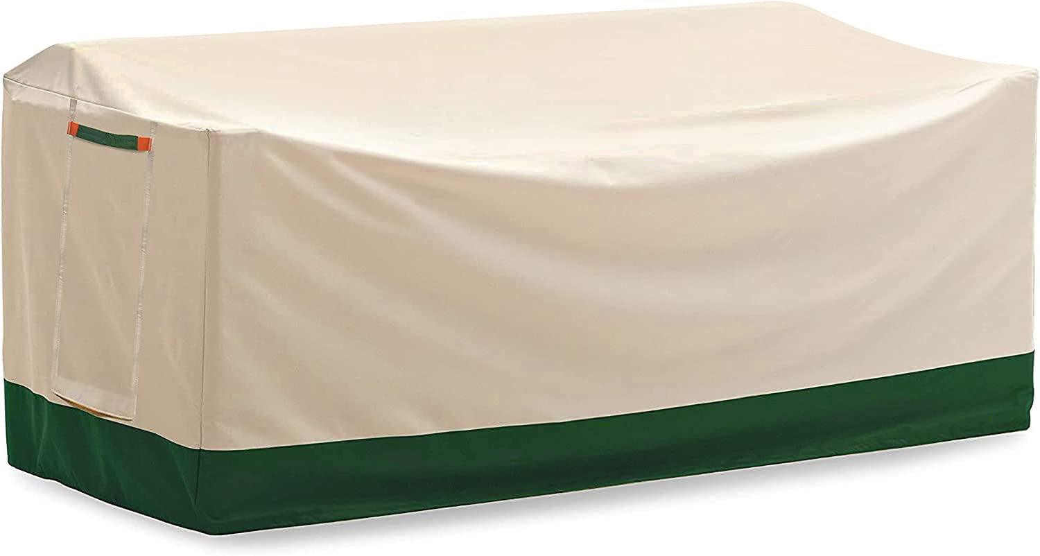 DikaSun Veranda Patio Sofa/Loveseat Cover 106 Inch 600D Oxford Fabric Patio Furniture Cover Heavy Duty Anti-UV Waterproof Fade Resistant Oversized Couch Sofa Cover with Air Vent, Beige and Dark Green