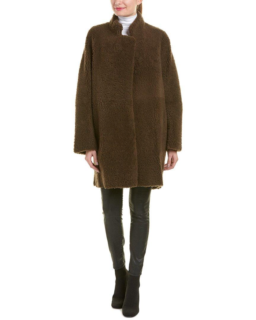 Vince Women's Reversible Teddy Shearling Coat, Dark Willow, Medium