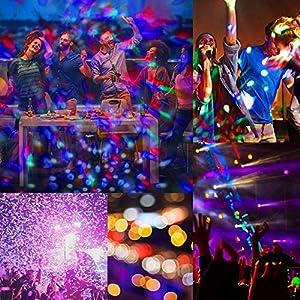 61e4bFTOHtL. SS300  - Discokugel-Led-Discolicht-klein-Kinder-lunsy-6-Farbe-RGB-LED-Musikgesteuert-Party-Disco-Lichteffekte-Discolicht-360-Drehbares-Partylicht-mit-Fernbedienungfr-Weihnachten-Party-Hochzeit-und-mehr