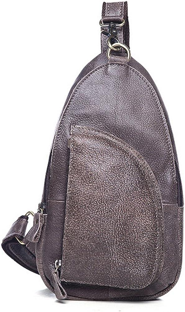 SEALINF Men's Full Grain Leather Chest Bag Cross Body Sling Backpack