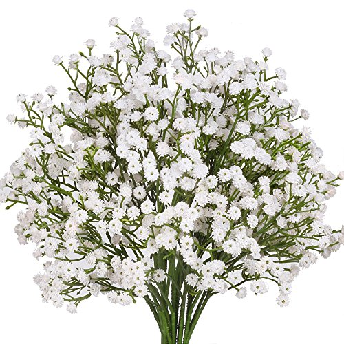 Senjie Artificial Fake Flowers Babys Breath/Gypsophila Bouquets for Wedding Home DIY Decoraction 7 PCS White