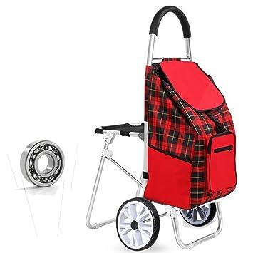 luckyyan rojo de compras plegable carrito de la compra con asiento, aleación de aluminio con ruedas para diario supermercado compras: Amazon.es: Hogar