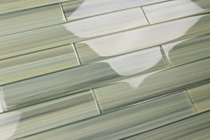 Bodesi Wintermoss Glass Subway Tile For Kitchen Backsplash Or
