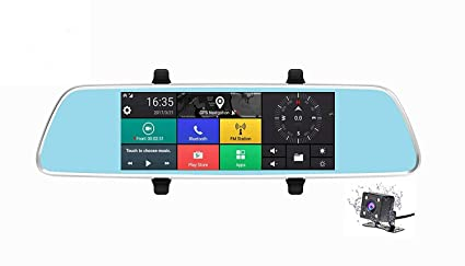 Amazoncom Weigav 3g 7 Inch Car Dvr Rear View Mirror Android