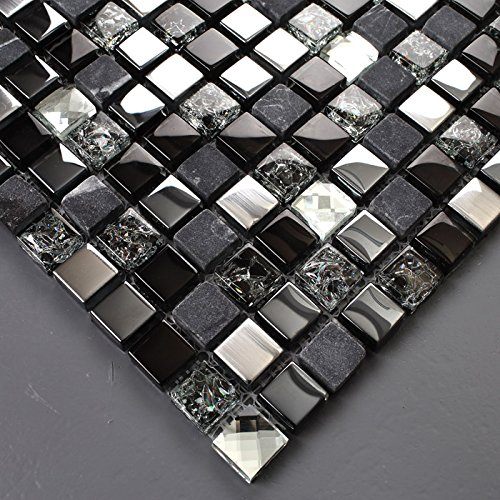 Hominter 5-Sheets Glass Marble Wall Tile, Grey and Black Rhinestone Backsplash for Kitchen, Silve Coating and Crackled Crystal Mosaic Bathroom Tiles KS66B by Hominter (Image #4)