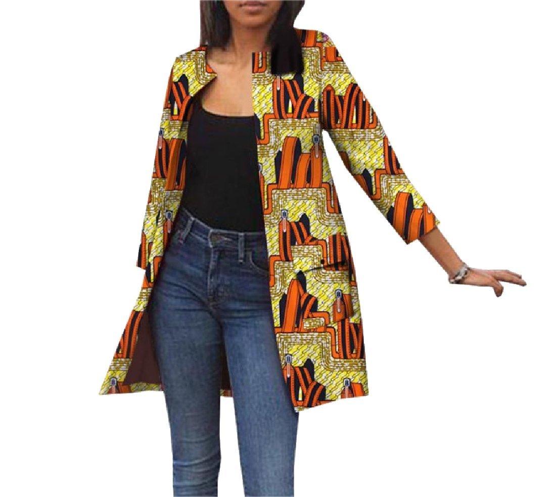 Comaba Women Africa Jacket Cardigan Pocket Dashiki Autumn Trench Coat 11 L