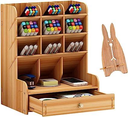 Marbrasse Organizador de escritorio de madera, multifuncional ...