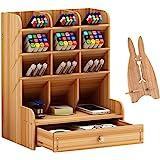 Marbrasse Wooden Desk Organizer, Multi-Functional DIY Pen Holder Box, Desktop Stationary, Home Office Supply Storage Rack with Drawer,Cell Phone Holder