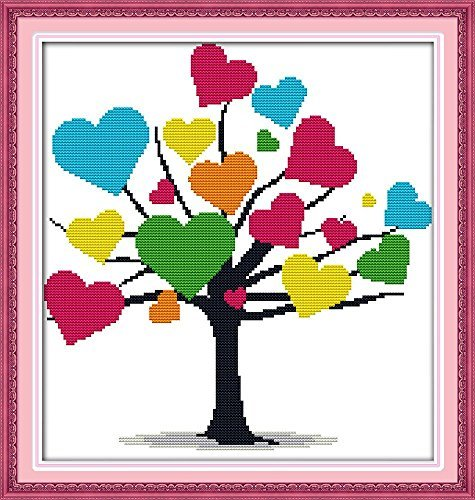 """Good Value Cross Stitch Kits Beginners Kids Advanced -Colorful Tree 11 CT 17""""X 17"""", DIY Handmade Needlework Set Cross-Stitching Accurate Stamped Patterns Embroidery Home Decoration Frameless"""