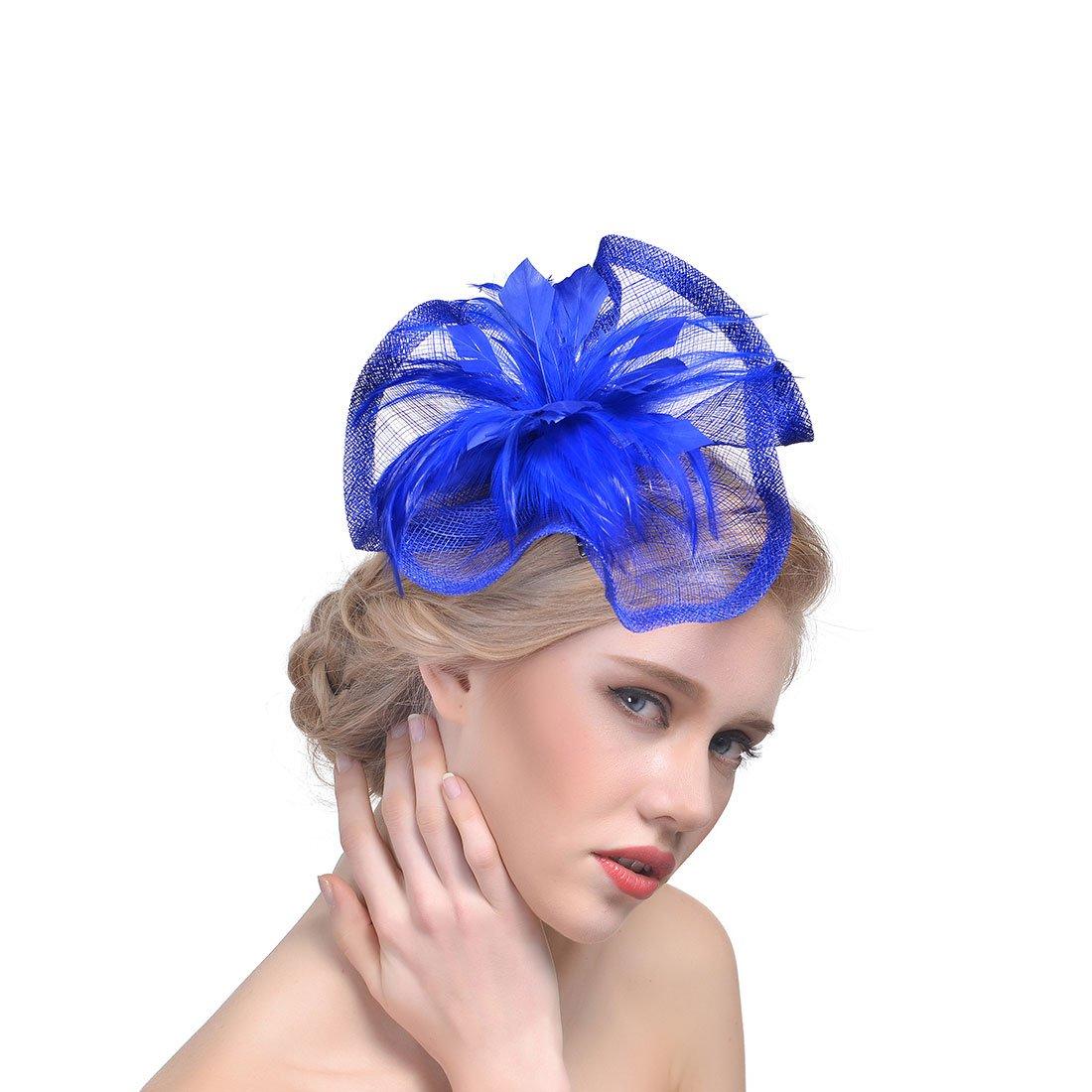 dressfan Elegante cappello Fascinator per donna Accessori per banchetti da sposa Fascia per capelli in lino irregolare