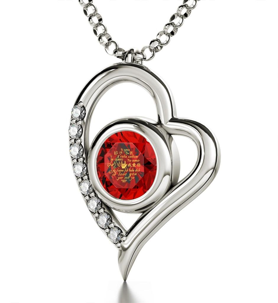 925 Sterling Silver Heart Pendant Necklace I Love You 12 Languages 24k Gold Inscribed Red Crystal, 18''