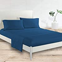 Generic Satin Polyester Fitted Queen Bedsheet, Navy Blue, 228 X 259cm, Vg-4Bs-Solid-Q-Nb