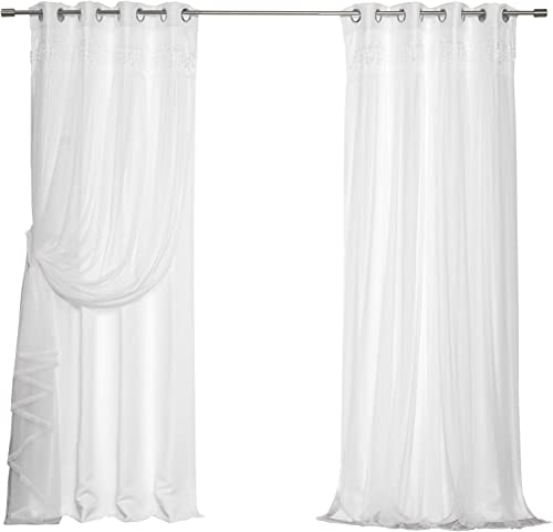 Best Home Fashion Lace Overlay Thermal Insulated Solid Blackout Curtains 52 W x 108 L – Set of 2 Panels, White