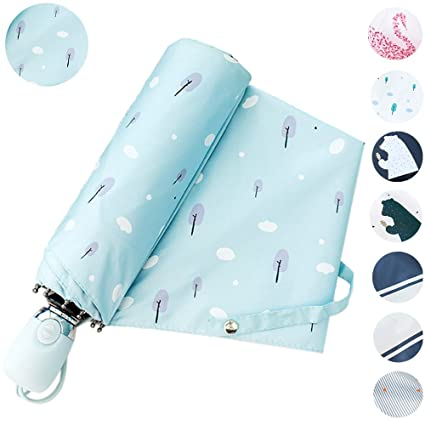 17KM Outdoor Travel Sun & Rain UV Protection Parasol Umbrellas Lightweight Folding Auto Open Close Cute